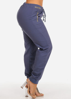 Navy High Rise Linen Pants