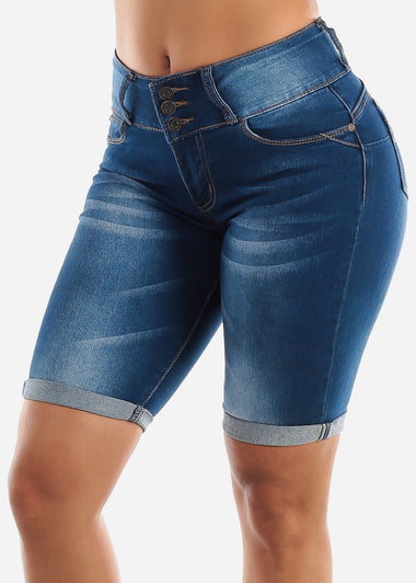 Dark Wash Butt Lifting Denim Bermuda Shorts