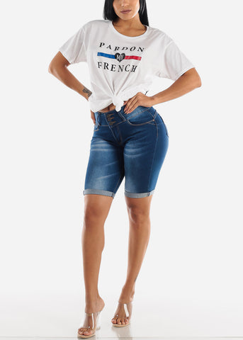 Image of Dark Wash Butt Lifting Denim Bermuda Shorts