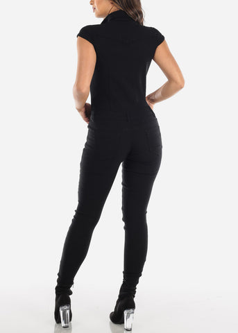 Sleeveless Black Skinny Leg Coveralls