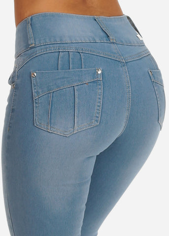 Image of Colombian Design Butt Lifting 3 Button Light Wash Skinny Jeans