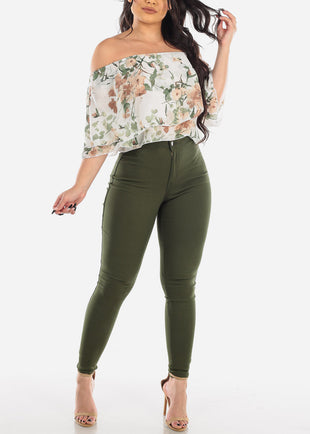High Rise Olive Jegging Skinny Pants