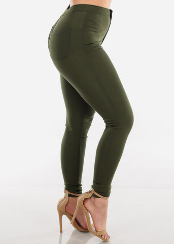 Image of High Rise Olive Jegging Skinny Pants