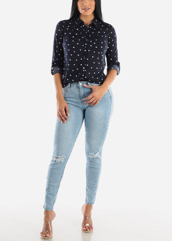 Image of Light Denim Distressed Ankle Jeans