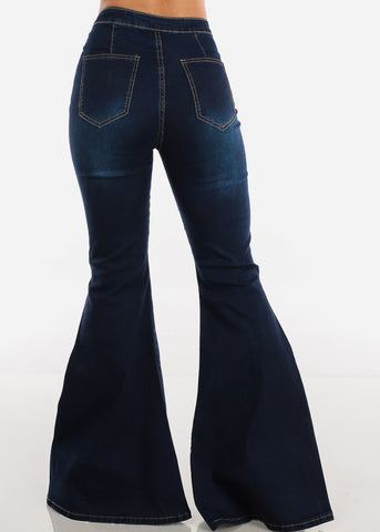 Image of High Rise Slit Leg Bell Bottom Jeans
