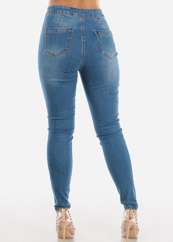 Image of Medium Wash Skinny Sailor Jeans