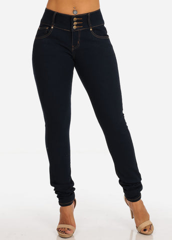 Image of Colombian Design Butt Lifting 3 Button Dark Wash Skinny Jeans