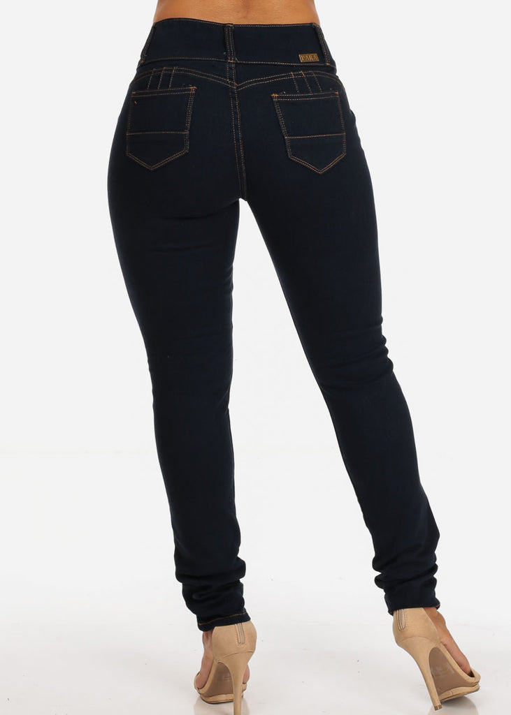 Colombian Design Butt Lifting 3 Button Dark Wash Skinny Jeans