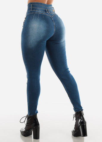 Levanta Cola High Rise Dark Blue Skinny Jeans