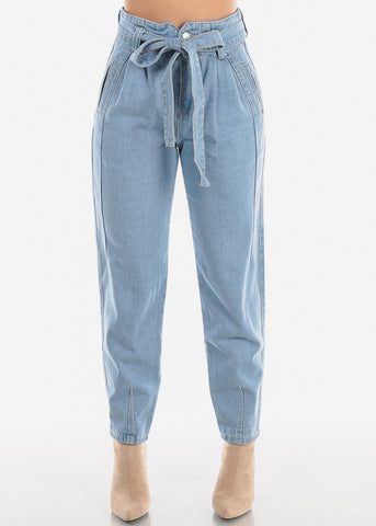 Image of High Rise Tie Belt Boyfriend Jeans