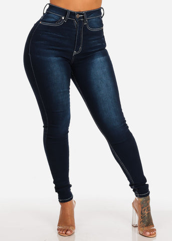 Dark Wash Ultra High Waisted Skinny Jeans