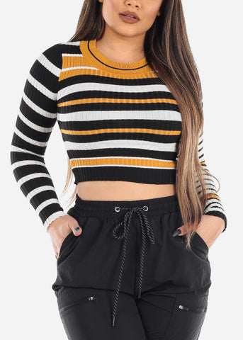 Image of Mustard & Black Striped Sweater