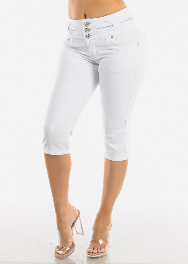 Butt Lifting White Denim Capris