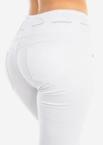Image of Butt Lifting White Denim Capris