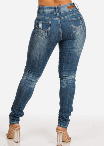 Image of High Waisted Distressed Skinny Jeans