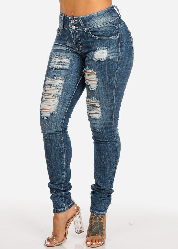 31e2f25360e High Waisted Distressed Skinny Jeans ...