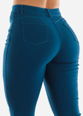Image of High Rise Butt Lift Teal Pants