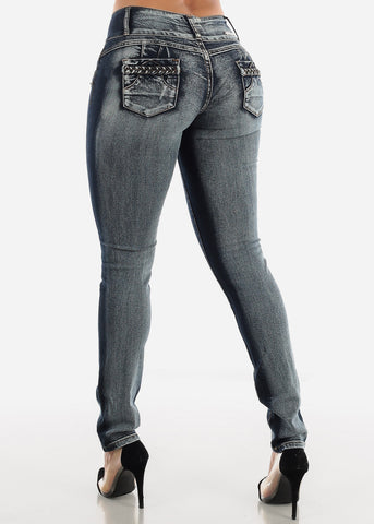 Image of Dark Wash Butt Lifting Low Rise Skinny Jeans