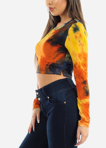 Yellow Tie Dye Crop Top