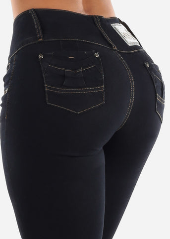 Image of Butt Lifting Mid Rise Dark Wash Skinny Jeans