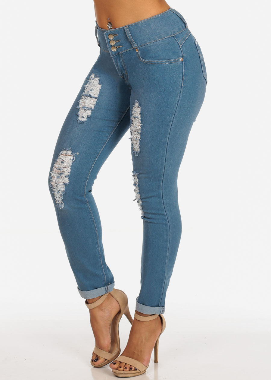 3 Button Levanta Cola Distressed Med Wash Ankle Skinny Jeans