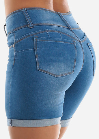 Image of Light Blue Butt Lifting Denim Shorts