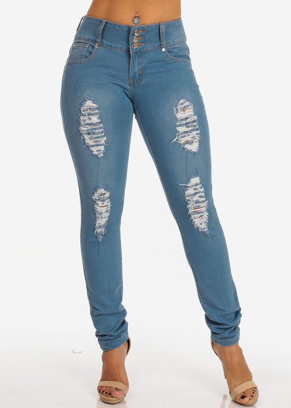 Levanta Cola Distressed 3 Button Light Wash Skinny Jeans