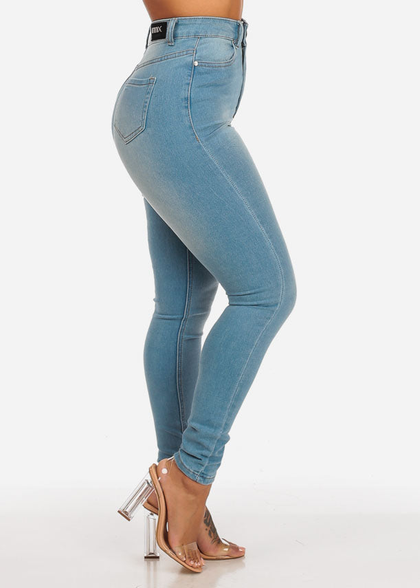 Classic Light Wash Ultra High Waisted Skinny Jeans