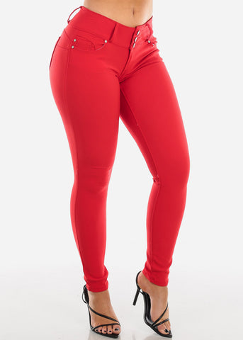 Image of Stretchy Butt Lifting Red Skinny Pants