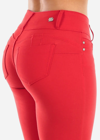 Stretchy Butt Lifting Red Skinny Pants