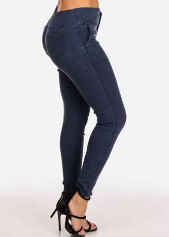 Women's Junior Ladies 3 Button High Rise Stretchy Dark Blue Jegging Pants