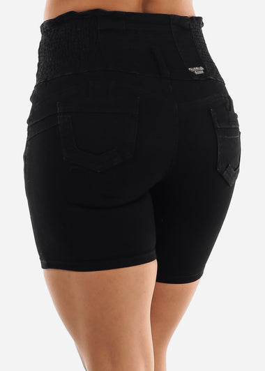 Black Mid Thigh Butt Lift Shorts