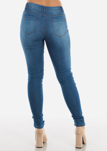 Medium Wash High Rise Skinny Jeans