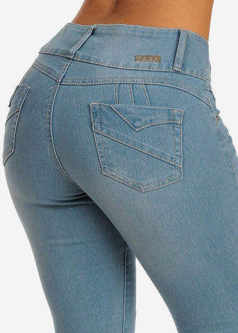 Levanta Cola Mid Rise Butt Lifting Light Wash Skinny Jeans