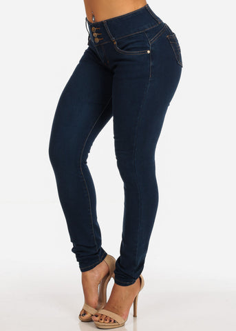 Mid Rise Levanta Cola Med Wash Butt Lifting 3 Button Skinny Jeans