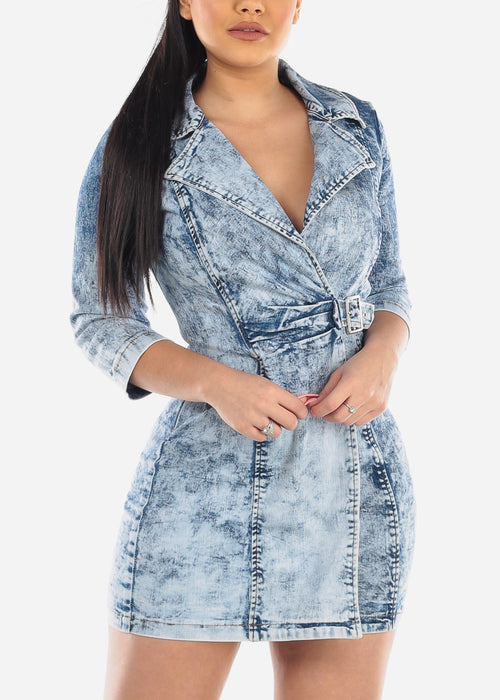 Acid Wash Side Buckle Denim Mini Dress