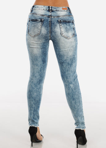 Image of Raw Hem Acid Wash Ripped Skinny Jeans MD007LTBLU