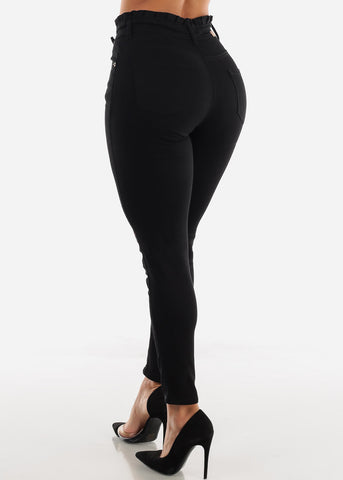 Image of High Rise Drawstring Waist Black Skinny Jeans