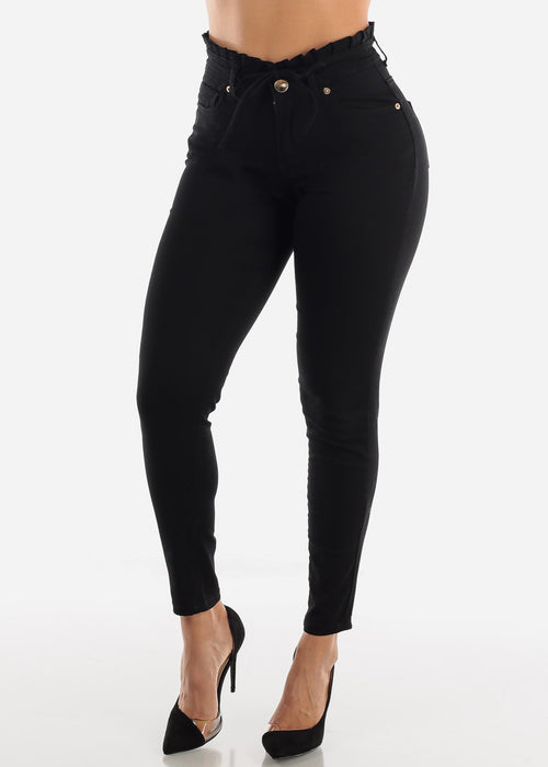 High Rise Drawstring Waist Black Skinny Jeans