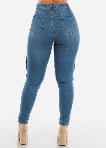 Image of Leg Pocket High Rise Skinny Jeans