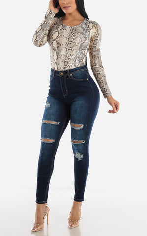 Image of High Waisted Dark Wash Torn Skinny Jeans
