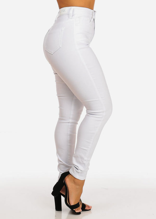 Classic High Waisted White Skinny Jeans