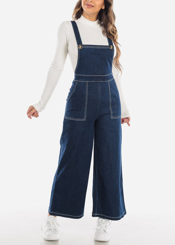 Image of Wide Leg Denim Overalls