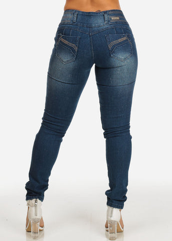 Butt Lift Dark Wash Mid Rise Ripped  Jeans
