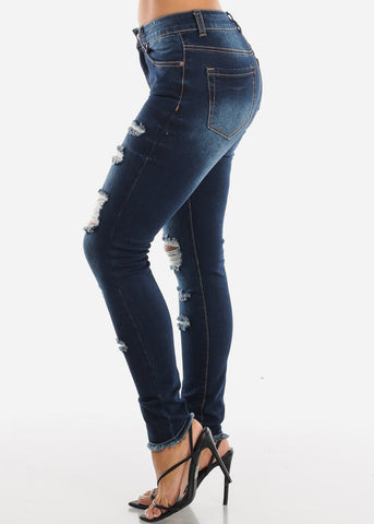 Image of Raw Hem Distressed Dark Skinny Jeans MD007DKBLU