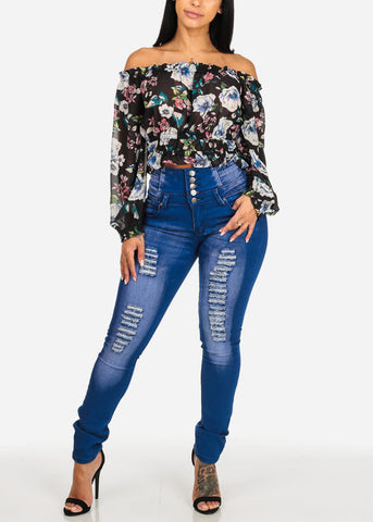 High Rise Blue Ripped Skinny Jeans