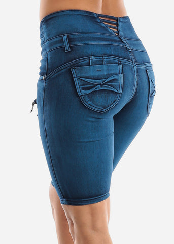 Butt Lifting Ripped Denim Bermuda Shorts
