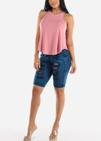 Image of Butt Lifting Ripped Denim Bermuda Shorts