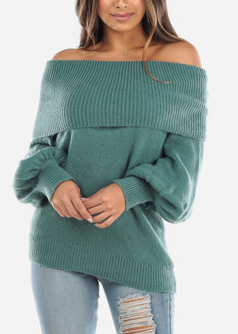 Off Shoulder Foldover Teal Sweater BFT07776GRN