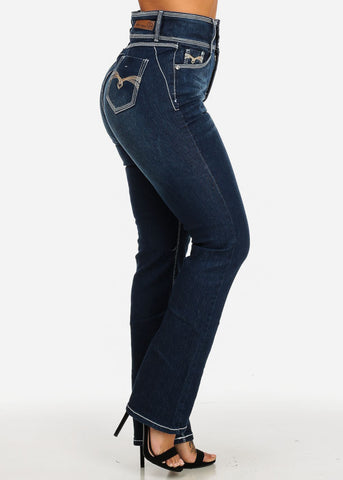 White Stitching Dark Blue Straight Leg Jeans